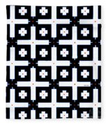 Geometric In Black And White Fleece Blanket