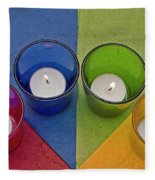 Geometrical Shapes, Colours And Candles Fleece Blanket