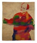 George Constanza Of Seinfeld Watercolor Portrait Fleece Blanket