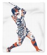 George Springer Houston Astros Pixel Art 11 Fleece Blanket