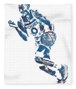 George Teague Minnesota Timberwolves Pixel Art 1 Fleece Blanket