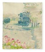 Geraniums By The Lake Fleece Blanket