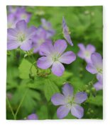 Geraniums Spring Wildflowers Fleece Blanket