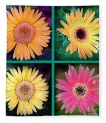 Gerbera Daisy Collage In Square Fleece Blanket