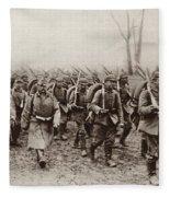 German And Austrian Soldiers Marching Fleece Blanket