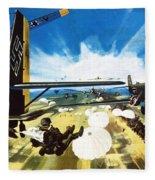 German Paratroopers Landing On Crete During World War Two Fleece Blanket