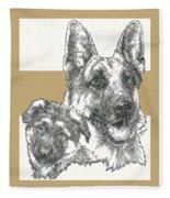 German Shepherd And Pup Fleece Blanket