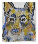 German Shepherd Painting Fleece Blanket