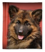 German Shepherd Puppy - Queena Fleece Blanket