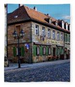 German Street Scene Fleece Blanket