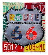 Get Your Kicks On Route 66 Recycled Vintage State License Plate Art By Design Turnpike Fleece Blanket