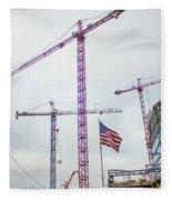 Getter Done Tower Crane Construction Art Fleece Blanket