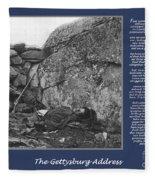 Gettysburg Address Civil War Devils Den Fleece Blanket