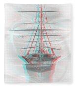 Ghost Ship - Use Red-cyan 3d Glasses Fleece Blanket
