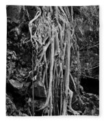 Ghostly Roots - Bw Fleece Blanket