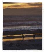 Ghostly Sunset Walk Fleece Blanket