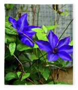 Giant Blue Clematis Fleece Blanket