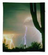 Giant Saguaro Cactus Lightning Storm Fleece Blanket