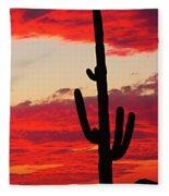 Giant Saguaro  Southwest Desert Sunset Fleece Blanket