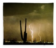 Giant Saguaro Southwest Lightning  Peace Out  Fleece Blanket