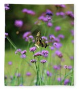 Giant Swallowtail Butterfly In Purple Field Fleece Blanket