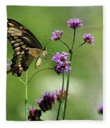 Giant Swallowtail Butterfly On Verbena Fleece Blanket