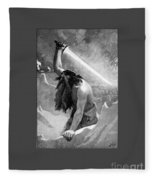Giant With A Flaming Sword Fleece Blanket