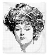 Gibson Girl, 1900 Fleece Blanket