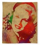Ginger Rogers Watercolor Portrait Fleece Blanket