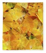 Ginkgo Biloba Leaves Fleece Blanket