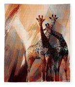 Giraffe Abstract Art 002 Fleece Blanket