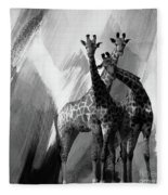 Giraffe Abstract Art Black And White Fleece Blanket