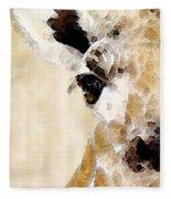 Giraffe Art - Side View Fleece Blanket
