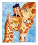 Giraffe Baby And Mother Fleece Blanket