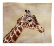 Giraffe Portrait With Texture Fleece Blanket