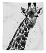 Giraffe In Black And White Fleece Blanket