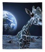 Giraffe On Moon Fleece Blanket
