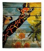 Giraffe Rustic Fleece Blanket