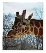 Giraffe Stretching For A View Fleece Blanket