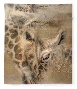 Giraffes, Big And Small Fleece Blanket