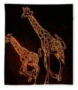 Giraffes Light Show  Fleece Blanket