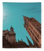 La Giralda Bell Tower Brilliantly Lit In Teal And Orange Fleece Blanket