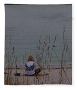 Girl At Beach Fleece Blanket