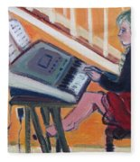 Girl At Keyboard Fleece Blanket
