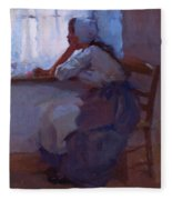 Girl At The Window 1885 Fleece Blanket