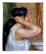 Girl Combing Her Hair Fleece Blanket
