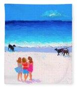 Girl Friends - Beach Painting Fleece Blanket