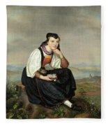 Girl From Hessen In Traditional Dress Fleece Blanket