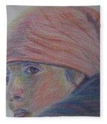 Girl In A Bandana Fleece Blanket