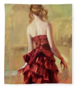 Girl In A Copper Dress II Fleece Blanket